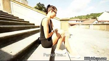 dick public jerk Slole her black pantyhose