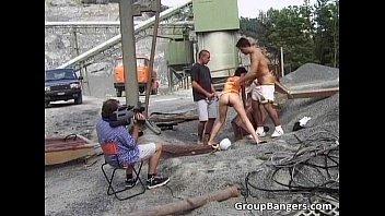 brunette two cocks slut gets hard Japanesse girls touch
