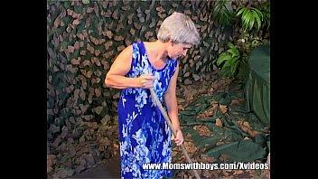 grannies stilettos wearing old Boobs press hardly
