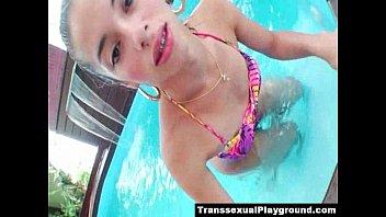 naked playing pool shemale Crossdressing sissy whore blows monster dildo deepthroath